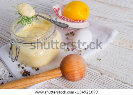 home-baked mayonnaise - stock photo