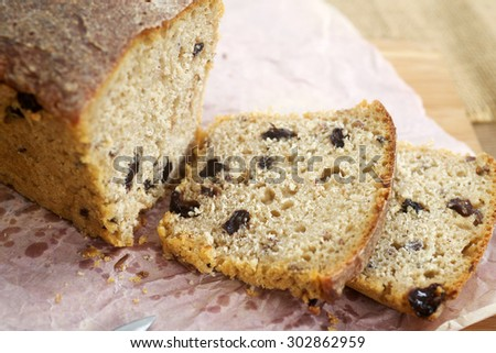 Home-baked rye bread from whole ground flour with raisins