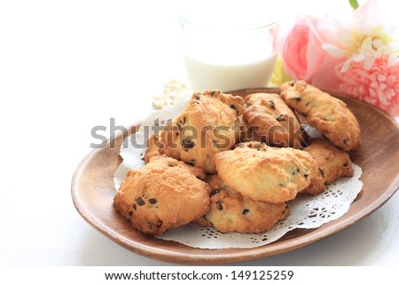 home bakery, chocolate chips cookie and milk for gourmet food image