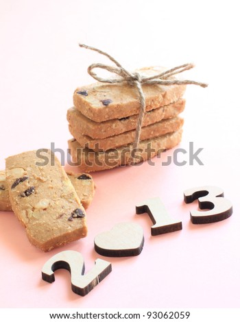 Home bakery cookies and number block for 2013 background image