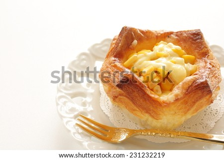 home bakery, corn and mayonnaise pie - stock photo