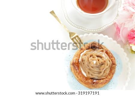 Home bakery, marron chestnut cream Danish pastry - stock photo