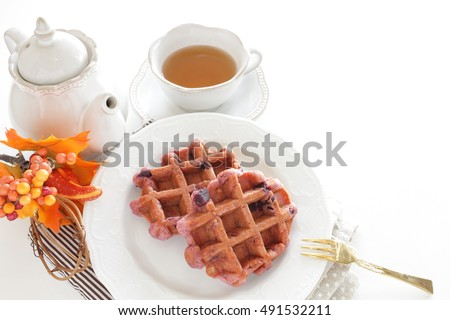 home bakery, sweet potato in waffle with tea