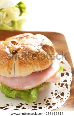 home bakery, walnut and raisin ham sandwich - stock photo