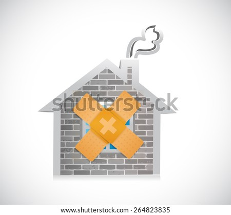 home bandage fix solution concept illustration design over white background - stock photo