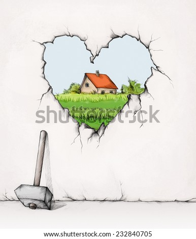 Home behind a hole in a wall - stock photo