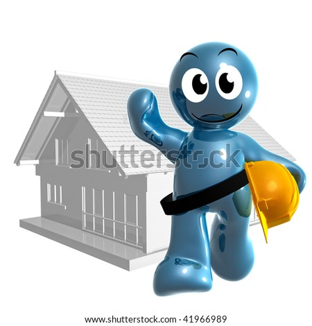 Home builder 3d icon figure