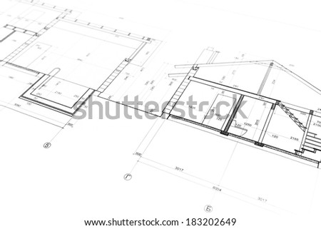 Home building construction plan as background. Blueprints series. - stock photo