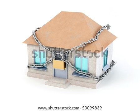Home, chain and padlock. 3d - stock photo