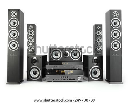 Home cinema speaker system. Loudspeakers, player and receiver isolated on white. 3d - stock photo