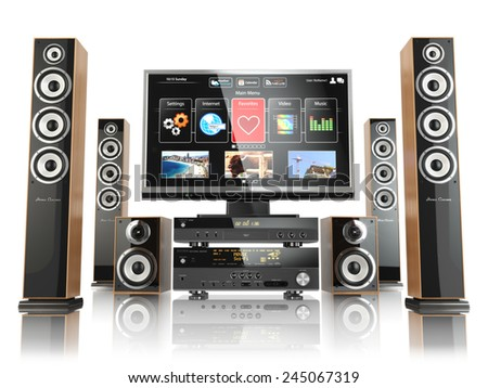 Home cinemar system. TV,  oudspeakers, player and receiver  isolated on white. 3d - stock photo