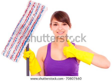 Home cleaning young woman with scrubber - stock photo