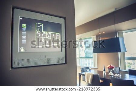 home computer panel for managing home light and apparatus  - stock photo