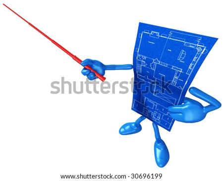 Home Construction Blueprint - stock photo
