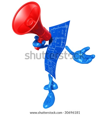 Home Construction Blueprint With Megaphone - stock photo