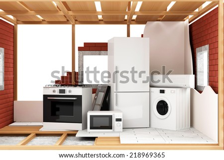 Home Construction Concept. House Under Construction with group of home appliances isolated on white background - stock photo