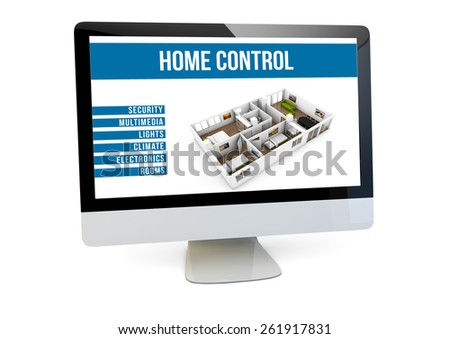 home control online concept: render of a computer with house automation software on the screen - stock photo