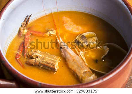 Home-cooked seafood soup - stock photo