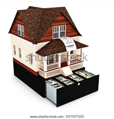 Home costs concept. Building ,buying, renting, loan, repairs, renovation , insurance ect. Home on the top of a register with sales receipt coming out of the window on a white background. - stock photo