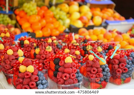 Home cultivated fresh fruits selling in the organic farmer's market