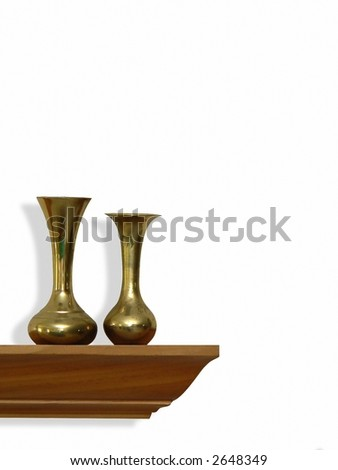 Home decor- brass vases on oak shelf isolated on white with drop shadow added