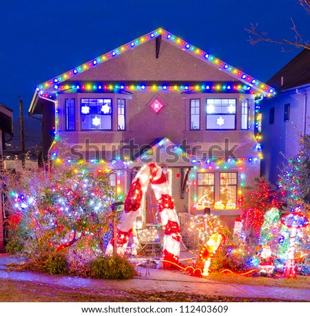 House Decorated Lighted Christmas New Year Stock Photo ...