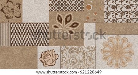 Home Decorative Wall Tiles Design Pattern Stock Illustration