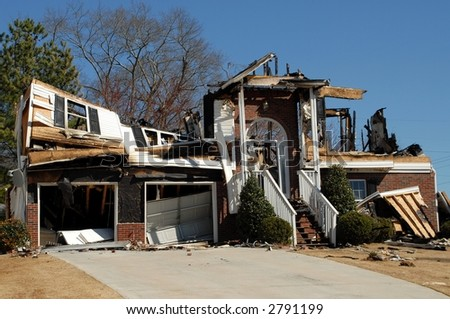 Home Destroyed By Fire - stock photo