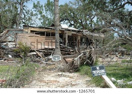 Home destroyed in Biloxi Mississippi by hurricane Katrina - stock photo
