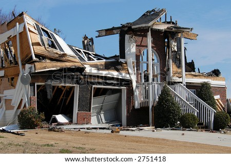 Home Destruction From Fire - stock photo
