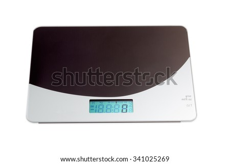 Home digital kitchen scale on light background. Isolation