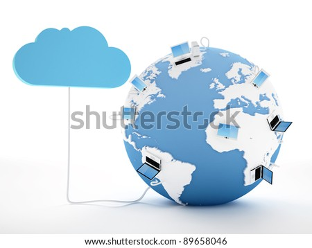 Home Electronic Devices connected to cloud server. Note: All Devices design and all screen interface graphics in this series are designed by the contributor him self. - stock photo