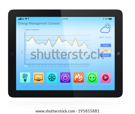 Home energy management app for tablet PC. Concept for home automation - stock photo