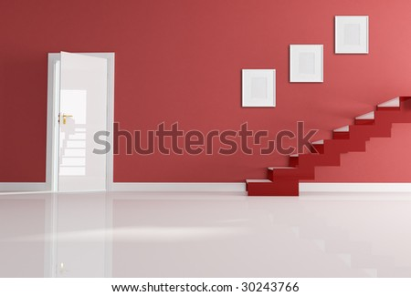 home entrance with modern staircase - rendering - stock photo