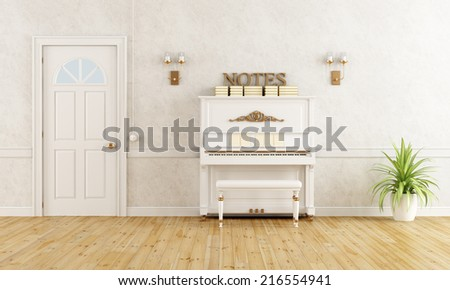 Home entrance with vertical piano and closed door - rendering - stock photo
