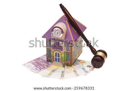 Home, euro money and gavel isolated on white.Real estate concept  - stock photo