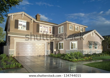 Home Exterior of House with Landscaping - stock photo