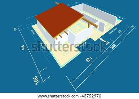 Home family plan with construction house. - stock photo