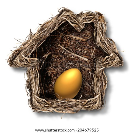 Home finances and residential equity symbol as a bird nest shaped as a family house with a gold egg as a metaphor for financial security planning and investing in real estate for retirement freedom. - stock photo