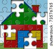 Home financing and mortgage payments symbol represented by a house picture and jigsaw puzzle texture showing the danger of foreclosure. - stock photo