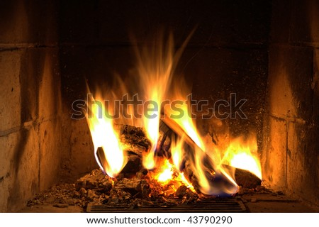 home fire in cottage - stock photo