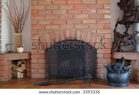 Home Fireplace, Logs, Coal bucket and Pokers... - stock photo