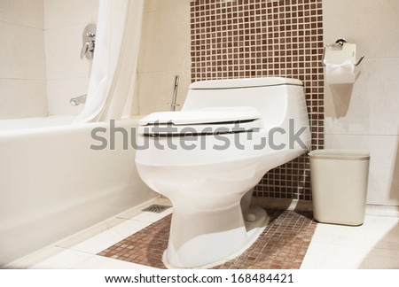 Home flush toilet (toilet bowl, paper) - stock photo