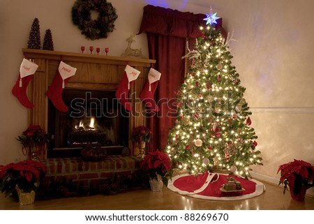 Home for Christmas, moms got the house decorated, tree lit up, waiting for Santa - stock photo