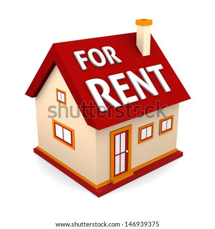 Home For Rent Real Estate Sign Isolated on White - stock photo