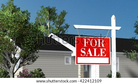 Home For Sale - Real Estate Sign and Beautiful New House - 3D rendering