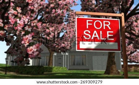 Home For Sale Real Estate Sign in Front of Beautiful New House - stock photo