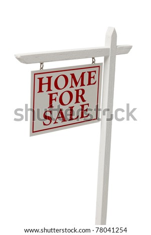 Home For Sale Real Estate Sign Isolated on a White Background with Clipping Path. - stock photo