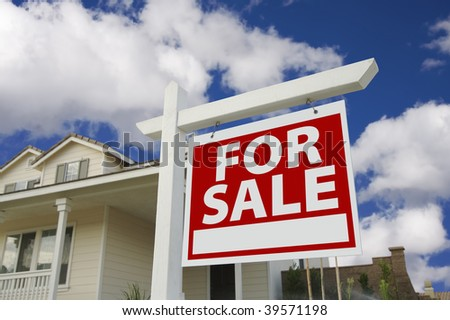 Home For Sale Sign in Front of New House. - stock photo