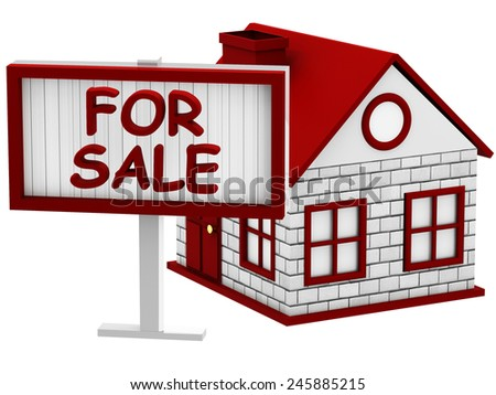 Home for Sale sign on white background - stock photo